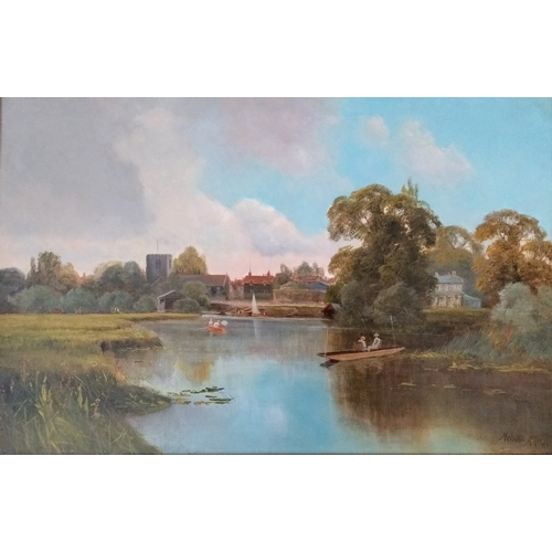 40 - Melville Allan (1863–1952), THE THAMES AT SHEPPERTON, oil on canvas, signed bottom right, in ornate ...