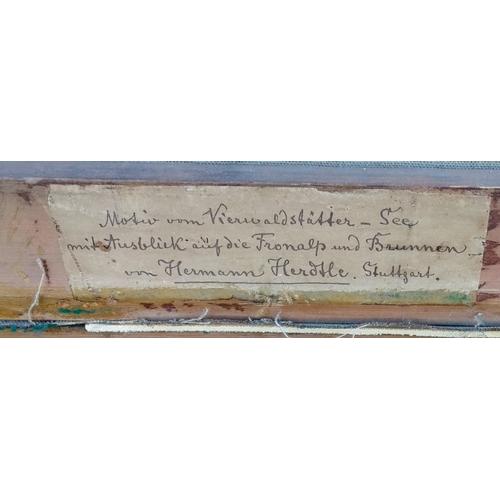 39 - Hermann Herdtle (German, 1819 -1889), LANDSCHAFT AM VIERWALDSTAETTERSEE, oil on canvas, 75 x 64 cm, ...