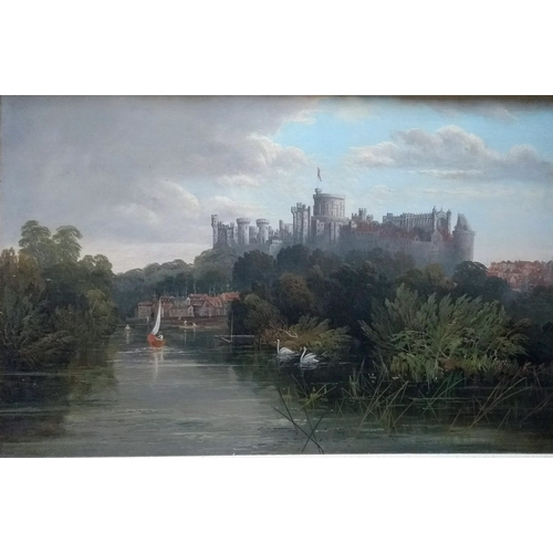 38 - Edwin Henry Boddington (1836-1905) VIEW OF WINDSOR CASTLE, oil on canvas in ornate gilt frame, 50 x ...