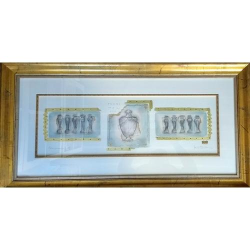 43 - Kevin Blackham, ORNAMENTAL II, mixed media, framed, mounted, glazed and signed, 23 x 71 cm...