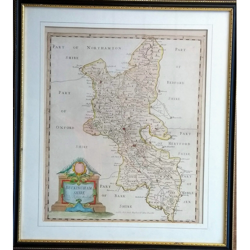40 - Robert Morden, hand coloured maps of Barkshire and Buckinghamshire, both framed and mounted, 35 x 43...