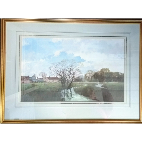 41 - Roy Perry (1935-1993), RIVER BRUE, SOMERSET, watercolour, framed and mounted, 33 x 53 cm with Centur...