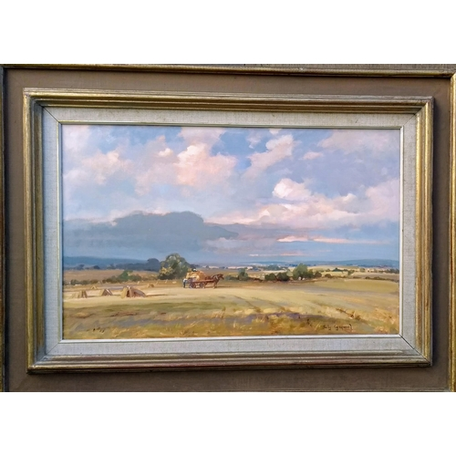42 - Sally Gaywood (British, 20th century) HARVESTING SCENE, oil on board, framed, 34 x 54 cm...