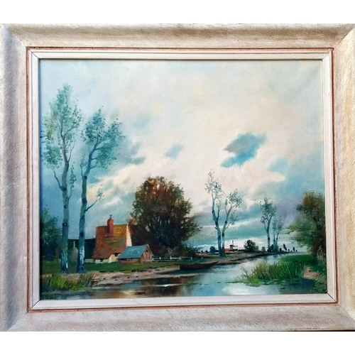 44 - A. Herbe, LAKESIDE SCENE, oil on canvas, framed, signed, 50 x 60 cm with Mitchell Galleries label ve...