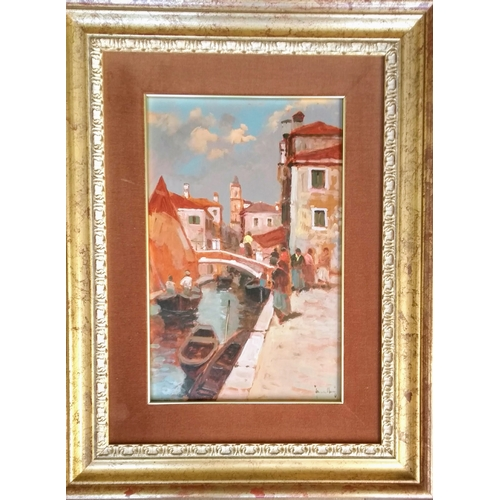 49 - Indistinctly signed, CANALE VENEZIANO, oil on board, 39 x 25 cm and Frederic Louis Leve (French, b. ...