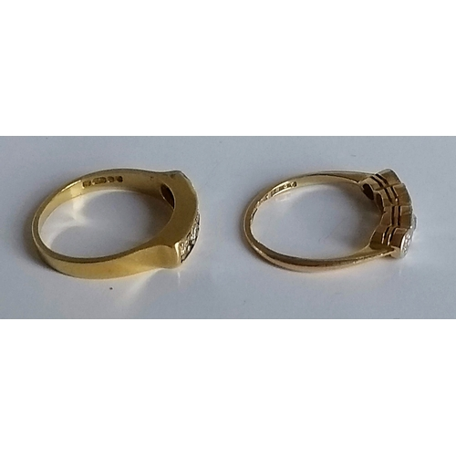 259 - A five-stone (one stone missing) square-cut diamond ring and a four-stone graduated diamond ring, bo...