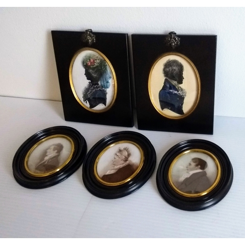 37 - Two oval Regency-style portrait silhouette watercolours with gouache heightening on card, each 10 x ...