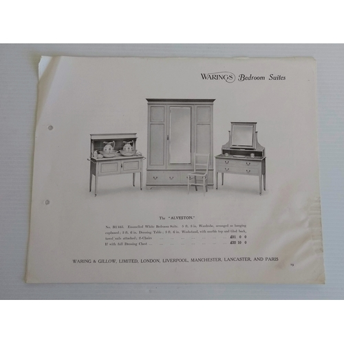 38 - An assortment of original sketches, photographs, drawings and brochures relating to Waring & Gillow...