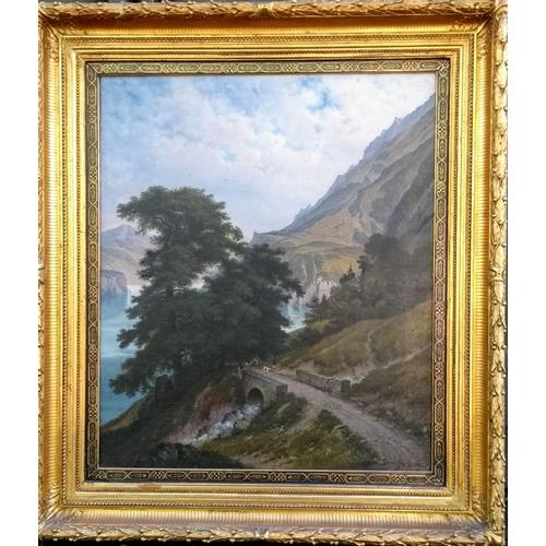 36 - Hermann Herdtle (German, 1819 -1889), LANDSCHAFT AM VIERWALDSTAETTERSEE, oil on canvas, 75 x 64 cm, ...