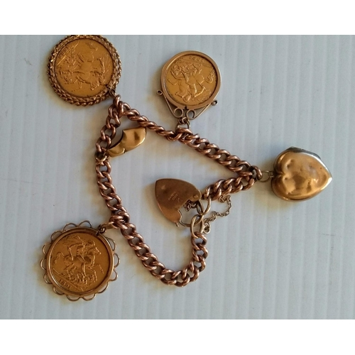 244 - A 9ct yellow gold charm bracelet with two mounted Victorian full sovereigns, 1888, 1891 and an Edwar...