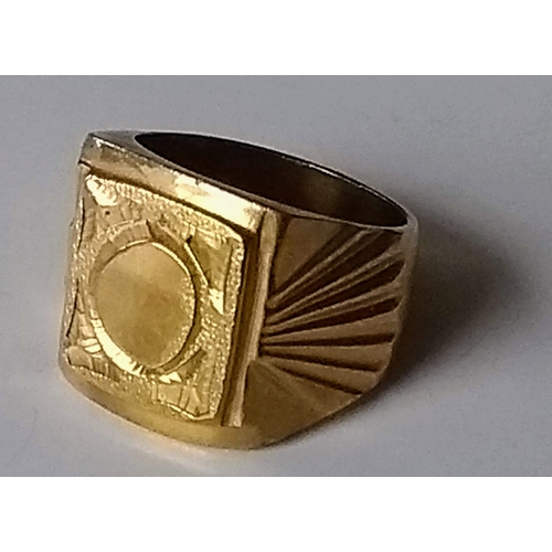 286 - A gents signet ring with stylized design and vacant cartouche, stamped 18k/750, size U, 19.64g...