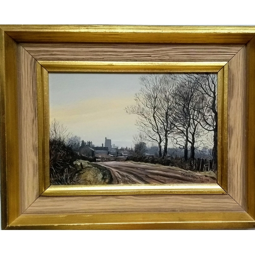 34 - Edward Stamp, (b.1939) FEBRUARY AFTERNOON, GREAT HORWOOD, BUCKINGHAMSHIRE, oil on board, signed and ...