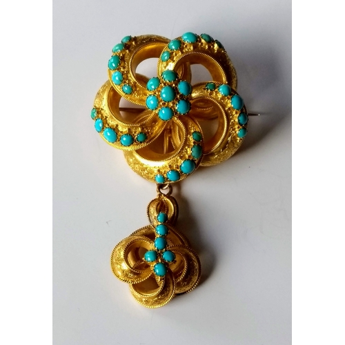 248 - A Victorian gold and turquoise reliquary pendant brooch, probably Indian, 8 cm with similar adjustab...