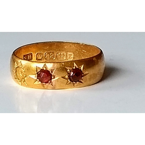 242 - A Victorian 22ct yellow gold three-stone ruby gypsy ring (one stone missing), size P, hallmarked, 4....
