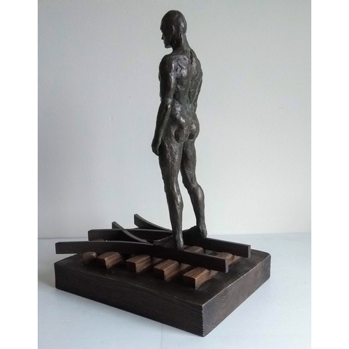 55 - Lorenzo Quinn (b.1965-) DECISIONS, limited edition bronze resin on carved wooden base, 42 x 29 x 22 ...