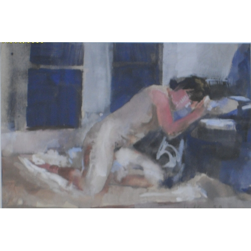 31 - Julian Gordon Mitchell, (1968-) NUDE FEMALE IN REPOSE, watercolour, framed, mounted and glazed, sign...