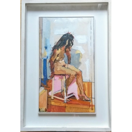 32 - Piers Ottey (b.1955-), WEDNESDAY POSE, oil on board, signed, framed, mounted and glazed, 40 x 23 cm ...