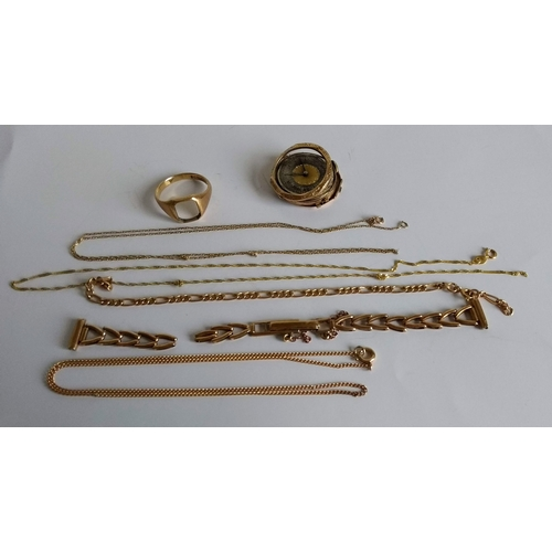 268 - An assortment of 9ct gold scrap jewellery, all hallmarked, 15g excluding watch case...