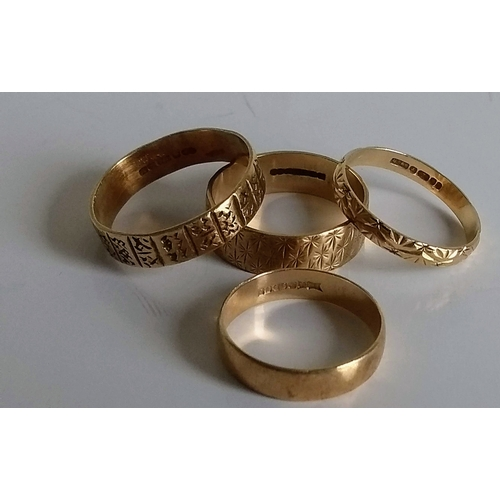 270 - Three textured ladies gold bands and one plain wedding band, sizes M-P, all hallmarked 9ct, 7.46g (4...