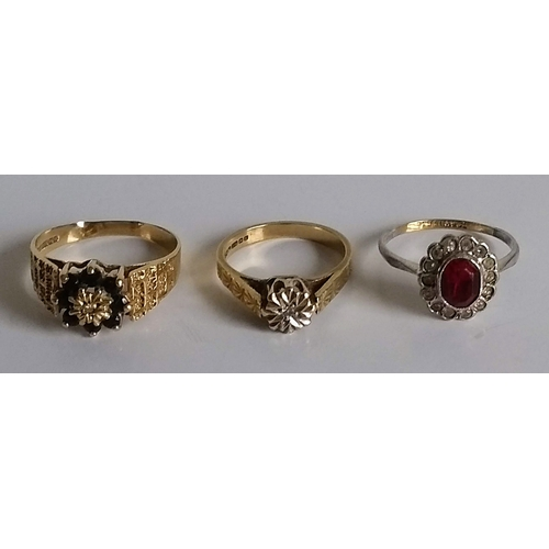 271 - Two mid-20th century gem-set rings in cage settings, sizes U, O, hallmarked 9ct and an oval garnet c...
