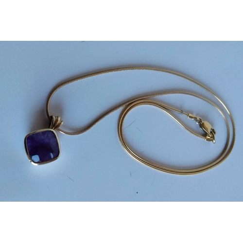 274 - A 9ct yellow gold amethyst mounted pendant and chain, 9.89g a 9ct gold-framed cameo oval pendant, 2....