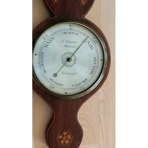 149 - A Regency inlaid mahogany mercury wheel barometer signed G.Trombetta Norwich, 8-inch circular silver...