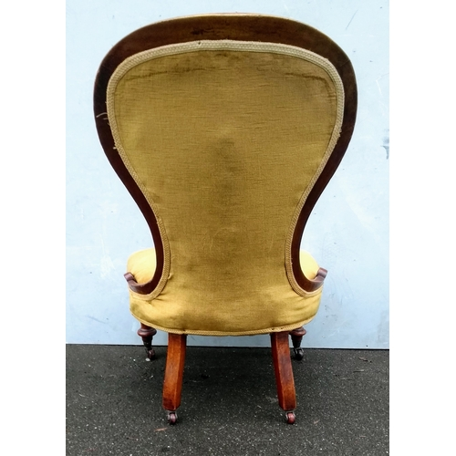 1A - A Victorian mahogany-framed button-backed ladies chair on turned front legs and castors, 90 cm H, in...