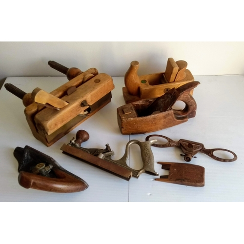 71 - A vintage Schutz Marke wood plane, 60 cm, other Schutz models, spoke planes and other wood shaving t...