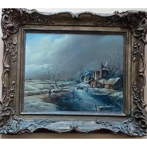 29 - Max Brandrett, WINTER SCENE, oil on board, signed, 19 x 24 cm in ornate gilt frame...