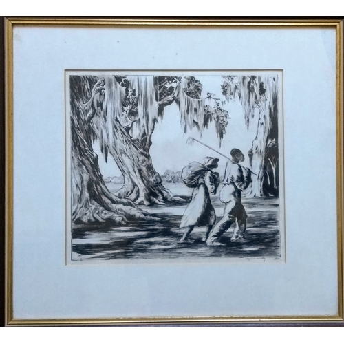33 - Alfred Heber Hutty (American/South Carolina, 1877-1954),GOING HOME, drypoint etching, pencil-signed ...