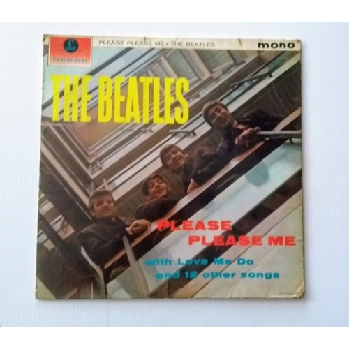 78 - A Beatles mono album PLEASE PLEASE ME signed by John, Paul, George and Ringo with black and yellow l...