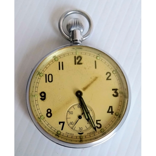 51 - A chrome cased military pocket watch with subsidiary seconds hand, back stamped G.S.T.P Q20644, in w...