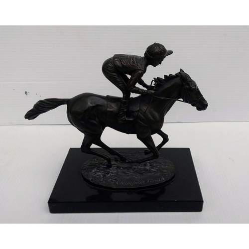 43 - David Cornell, CHAMPION FINISH, bronze model of a racehorse and jockey, signed and dated 1985, 19 x ...