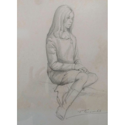 23 - Pietro Psaier (1936- 2004) Italian, FEMALE STUDY SEATED, pencil drawing, framed and mounted, 35 x 27...