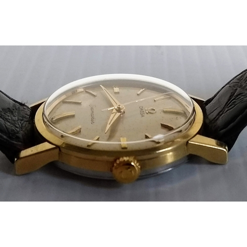 8 - A gents Omega gold plated and steel-cased Seamaster wristwatch, signed champagne dial, 32mm, baton m...