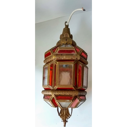 61 - A vintage Moravian star pendant light shade with ruby glass panels, 30 cm diameter and a Moorish wal...