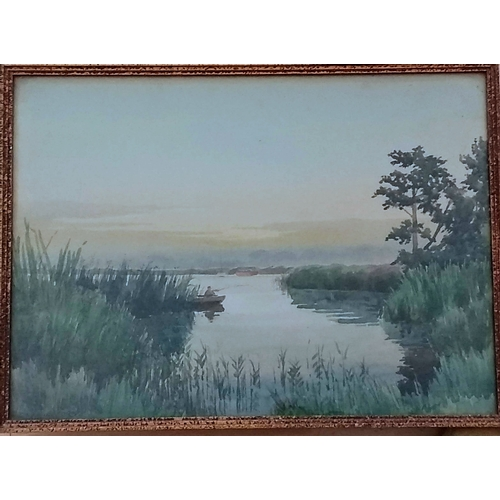 42 - Charles Hannaford (1863-1955), EARLY MORNING ON WROXHAM BROAD, watercolour, framed and signed, 26 x ...