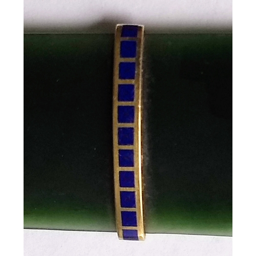 96 - A Faberge-style  nephrite page turner or letter opener with yellow metal and lapis lazuli band, unma...