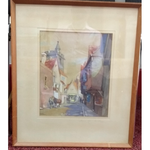 48 - Frank Sherwin (1896-1985) FRENCH ROW, ST. ALBANS, watercolour, framed, mounted and signed bottom lef...