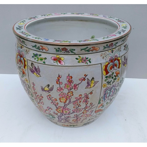 64 - A 19th century polychrome Chinese porcelain fish bowl or jardiniere with carp, Tongzhi six-character...