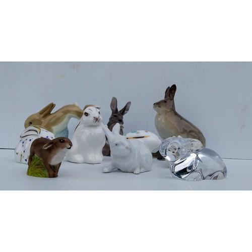 66 - A selection of rabbit figurines by Coalport, Aynsley (x2), Royal Crown Derby, Royal Copenhagen (x2),...