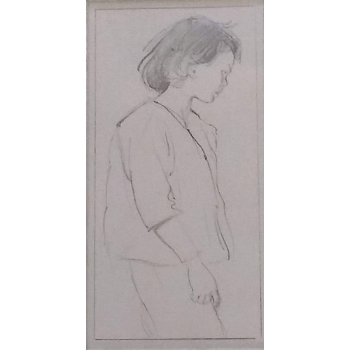 37 - After Augustus John (1878-1961), THREE-QUARTER PORTRAIT OF A YOUNG GIRL, pencil, framed, mounted, un...