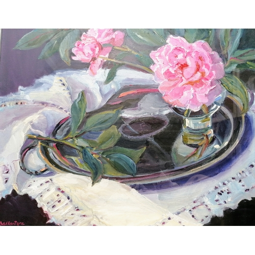 39 - Margaret Ballantyne, (b. 1936, Scottish) SILVER AND PINK, oil on canvas, glass fronted, 60 x 52 cm, ...