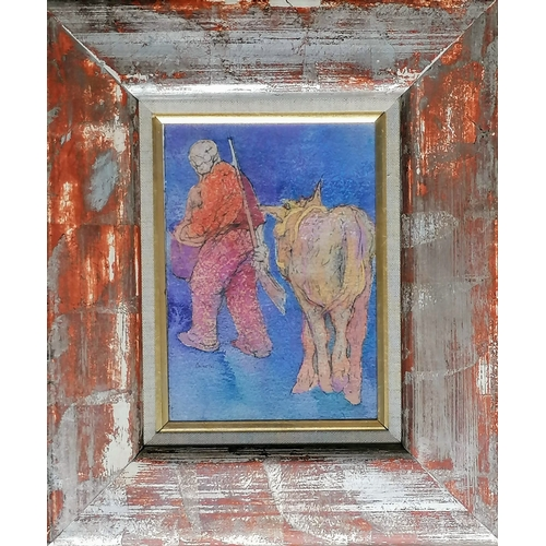 40 - Anda Paterson RSW, RGI (b.1935 Scottish), THE YOUNG DONKEY OF ODELEITE, mixed media, glazed, framed,...