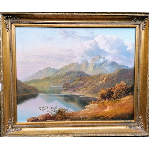 41 - Andrew Grant Kurtis (British, 20th century), HIGHLAND SCENE, oil on canvas in an ornate gilt frame, ...