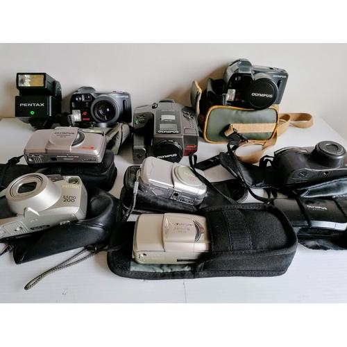 81 - A PENTAX ESPIO 200 35mm; Olympus Cameras: AZ-4 Zoom SUPERZOOM, two AZ-300 SUPERZOOM (2), SUPERZOOM 1...