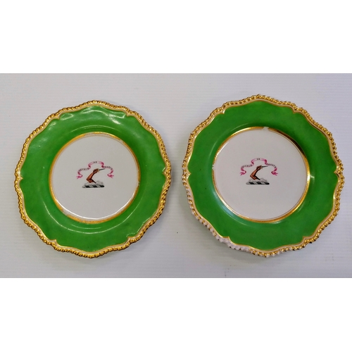 59 - A pair of 19th century armorial Flight, Barr & Barr Worcester plates painted motto 'Vigueur De Dessu...