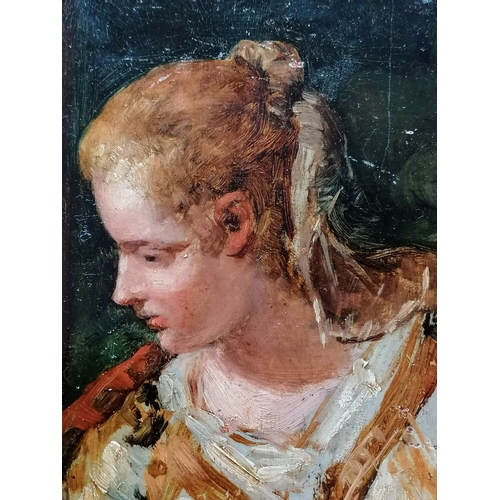 44 - Amelie Valentino (French, 1845-1921) FEMALE STUDY, oil on board, 27 x 21 cm, unframed, signed bottom...