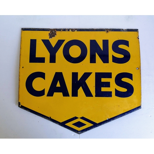 45 - A Lyons Cakes enamel shop sign in blue and yellow enamel,  44.5cm x 38.5cm...