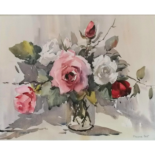 46 - Two Marjorie Best, STILL LIFE OF FLOWERS, watercolours, framed and mounted, both signed, 35 cm x 50 ...